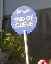 end of queue sign blowup